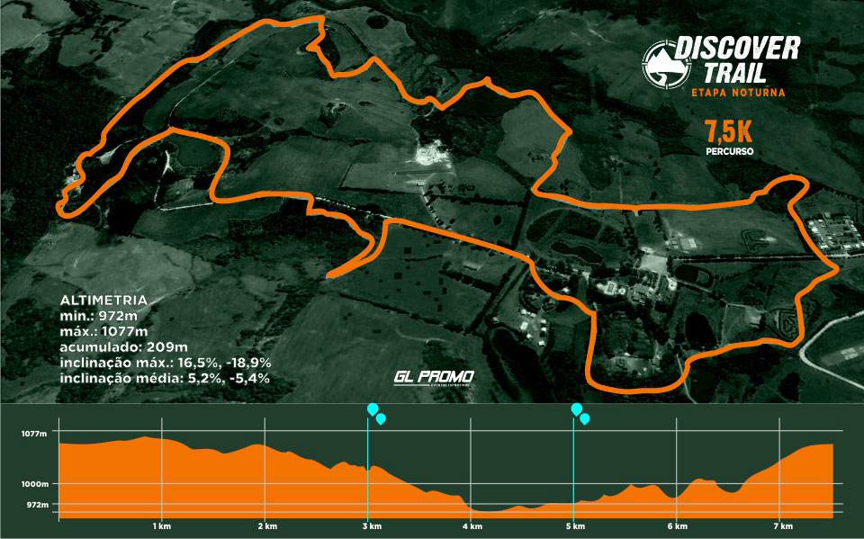 Descritivo Percurso 7,5km - Discover Trail - Noturna -  2019